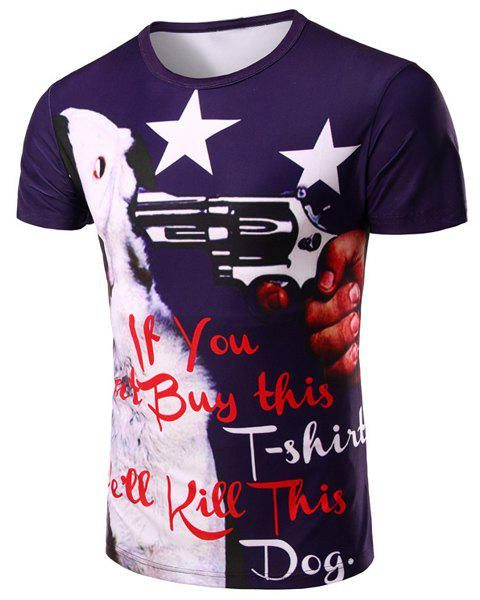 Letter and Gun 3D Print Pattern Round Neck Short Sleeve Men's T-Shirt - COLORMIX M