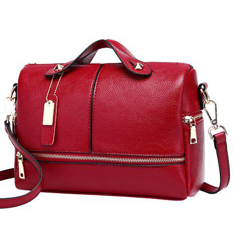 Fashion Solid Color and Stitching Design Women's Tote Bag - WINE RED
