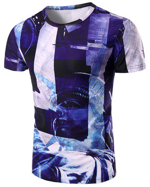 Statue 3D Print Pattern Round Neck Short Sleeve Men's T-Shirt - COLORMIX M