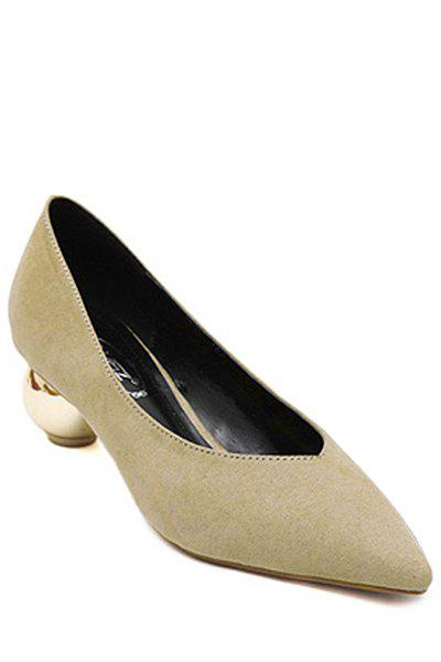 Simple Strange Heel and Pointed Toe Design Pumps For Women - KHAKI 37