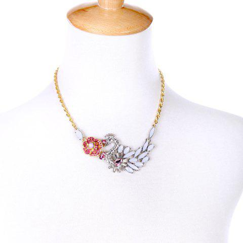 Faux Gem Crystal Decorated Swan Flower Pendant Necklace - COLORMIX