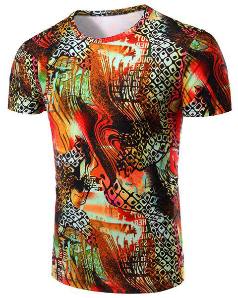 Geometric Abstract 3D Print Pattern Round Neck Short Sleeve Men's T-Shirt - COLORMIX M