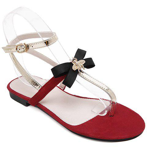 Casual Bow and Flip Flop Design Women's Sandals - RED 38