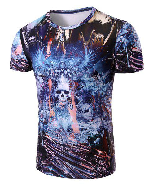 Skull Abstract 3D Print Pattern Round Neck Short Sleeve Men's T-Shirt - COLORMIX M