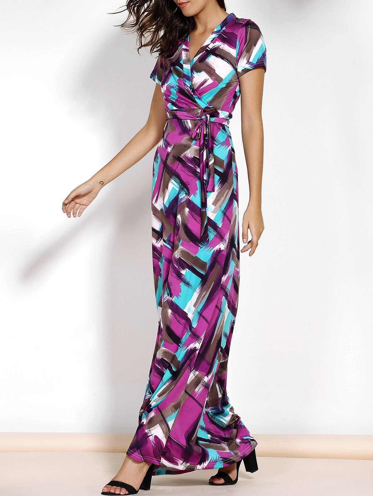 Short Sleeve Argyle Print Belted Maxi Dress - COLORMIX XL