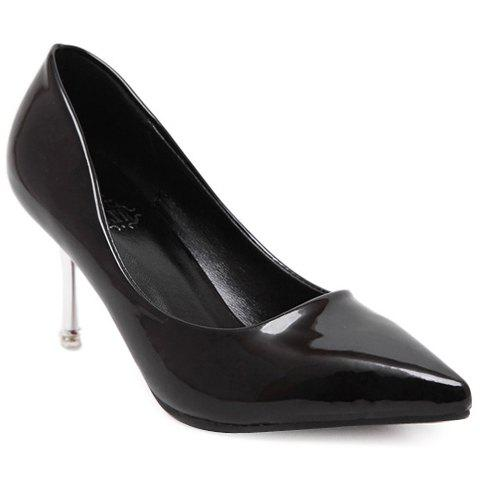 Fashionable Pointed Toe and Patent Leather Design Women's Pumps - BLACK 38