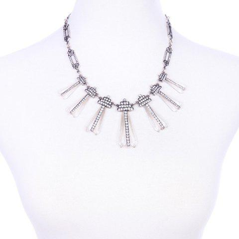 Simple Rhinestoned Geometric Resin Pendant Necklace For Women - SILVER