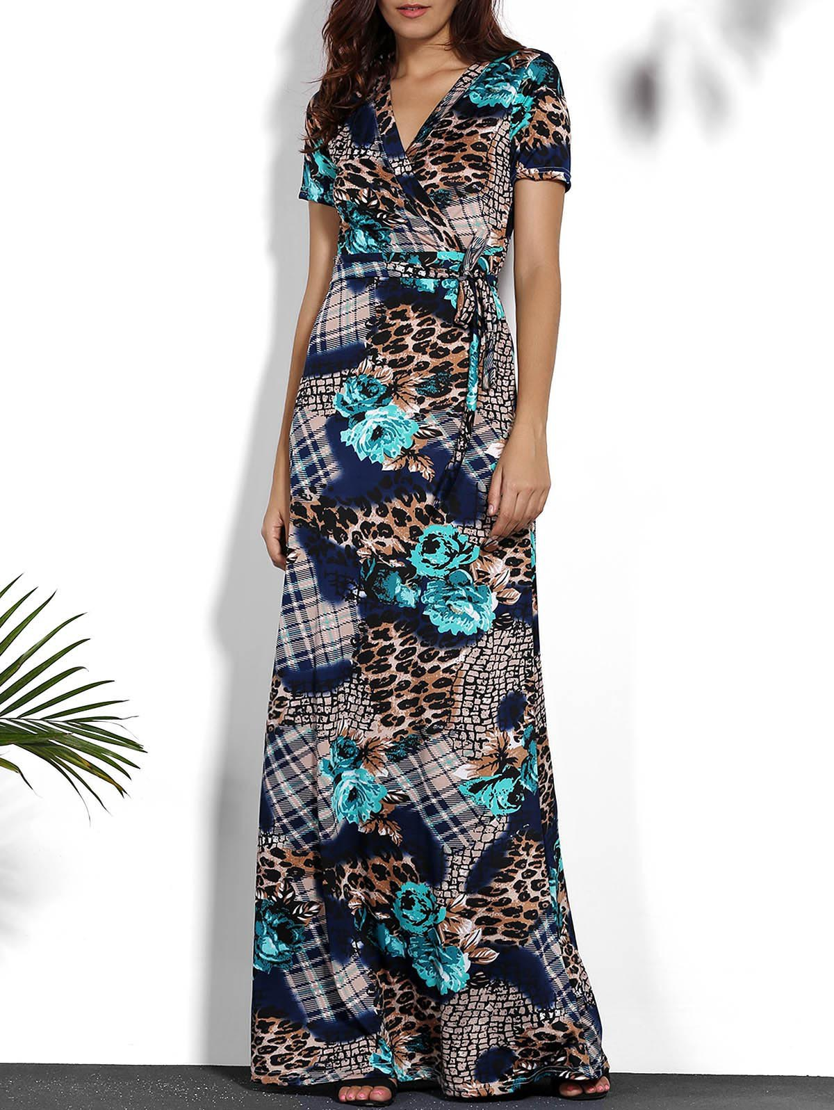 Chic Printed V-Neck Short Sleeve Maxi Dress For Women - COLORMIX L