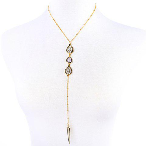 Faux Gem Rhinestoned Water Drop Pendant Necklace - GOLDEN