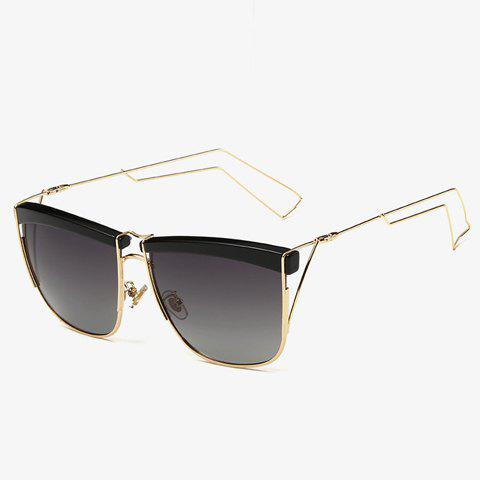 Stylish Black Brow and Hollow Out Leg Embellished Men's Sunglasses - GRAY