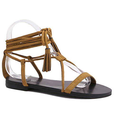 Rome Style Tassels and Lace-Up Design Women's Sandals - BROWN 35