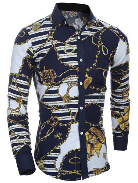 Retro Style Printing Turn Down Collar Shirt For Men - COLORMIX M