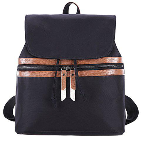 Simple Color Block and Cover Design Women's Satchel - DEEP BROWN