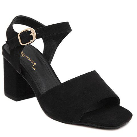 Concise Chunky Heel and Flock Design Women's Sandals - BLACK 39