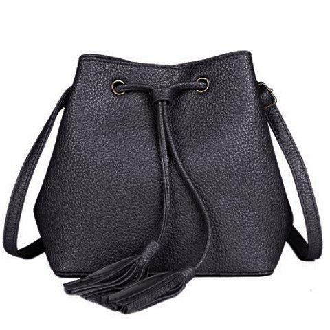 Casual Solid Color and Tassels Design Women's Crossbody Bag - BLACK