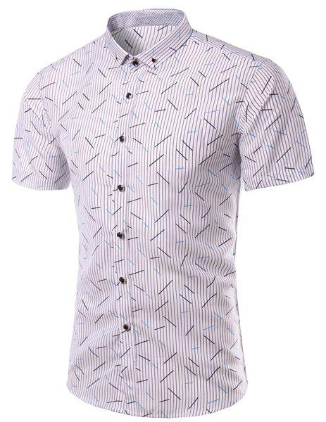 Turn-Down Collar Plus Size Vertical Stripe Print Short Sleeve Men's Shirt - WHITE 3XL
