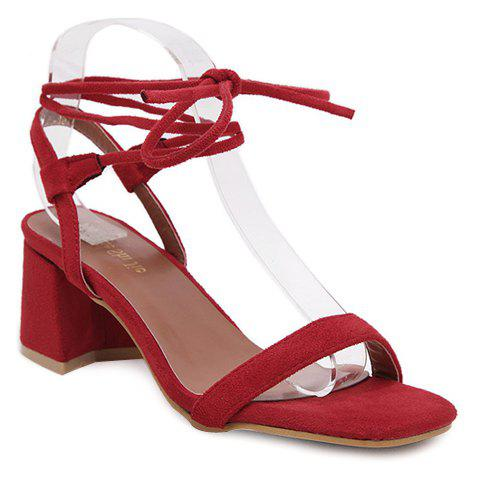 Stylish Red Color and Suede Design Women's Sandals - RED 40