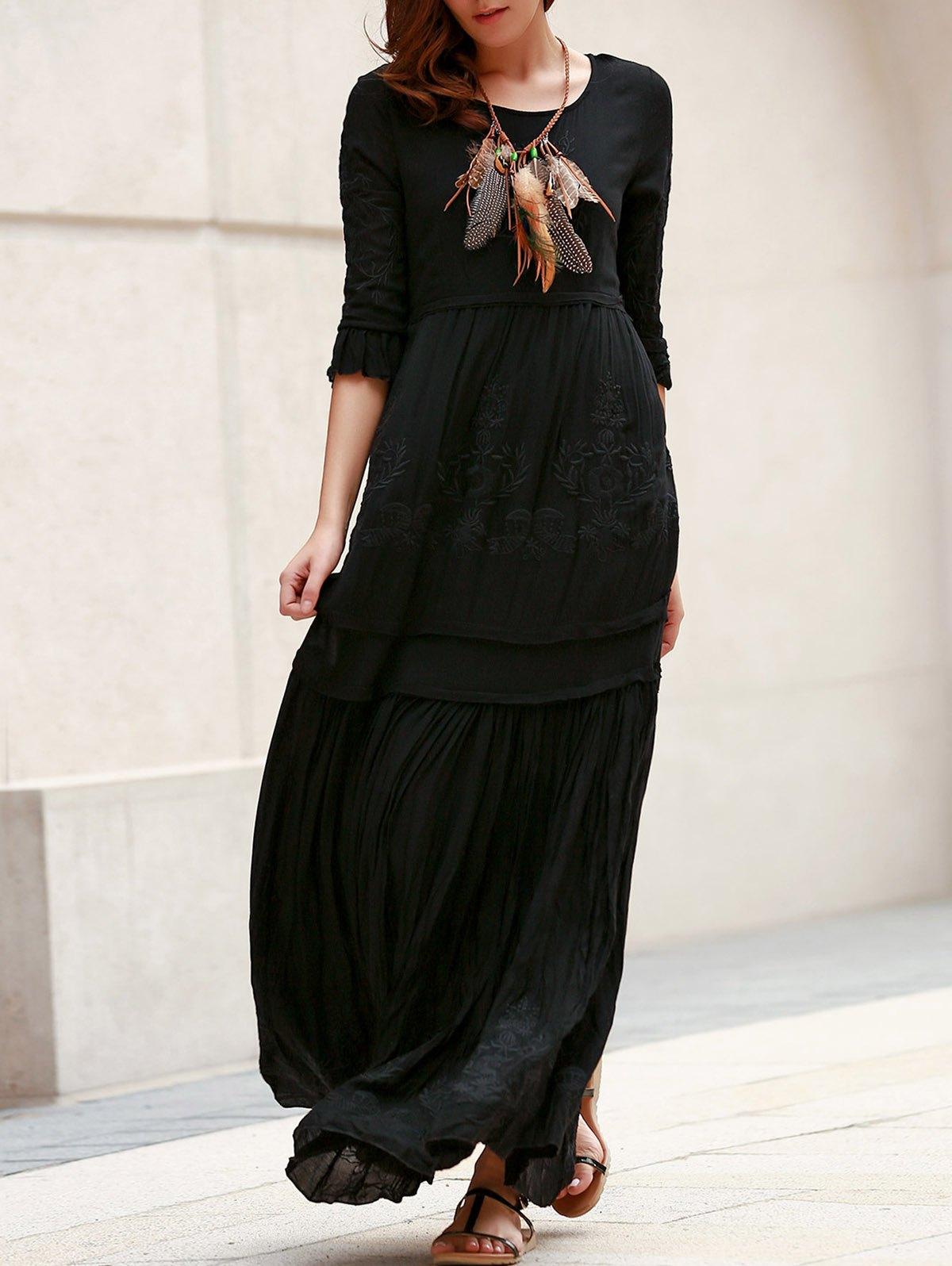 Trendy 3/4 Sleeve Round Collar Solid Color Embroidered Women's Dress - BLACK S