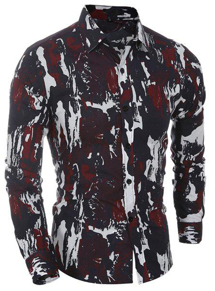 Camo Printing Turn Down Collar Shirt For Men - RED M