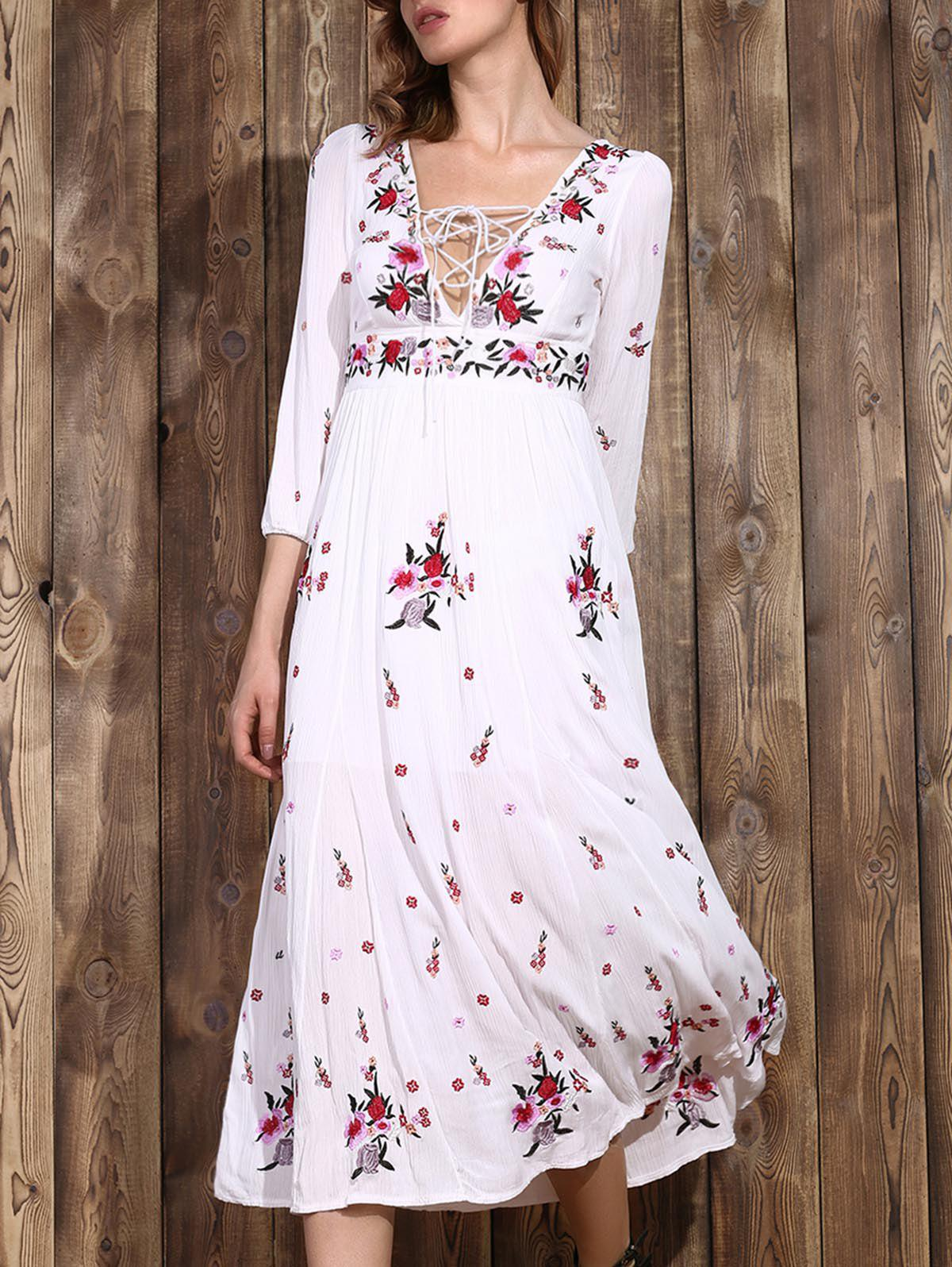 Trendy Plunging Neck Embroidered Lace-Up Women's Dress - WHITE S