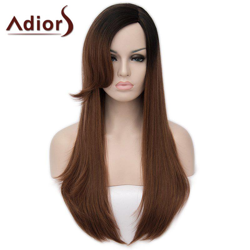 Fashion Long Side Bang Capless Fluffy Natural Straight Black Brown Ombre Women's Synthetic Wig - OMBRE 2