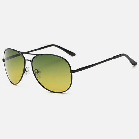 Stylish Metal Frame Night Vision Men Aviator's Sunglasses - BLACK
