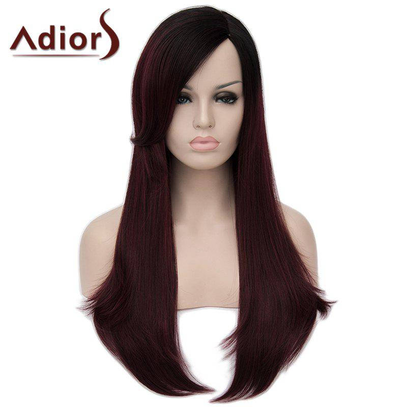 Stunning Black Ombre Wine Red Long Synthetic Shaggy Natural Straight Capless Wig For Women - OMBRE