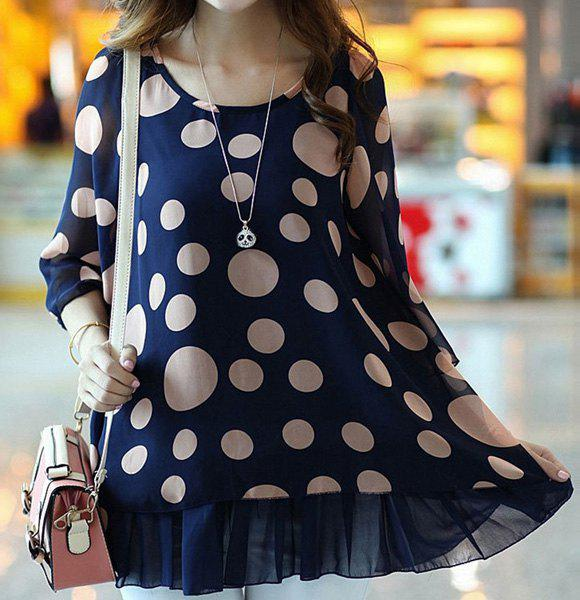 Cute Women's Scoop Neck 3/4 Sleeve Polka Dot Blouse - BLUE L