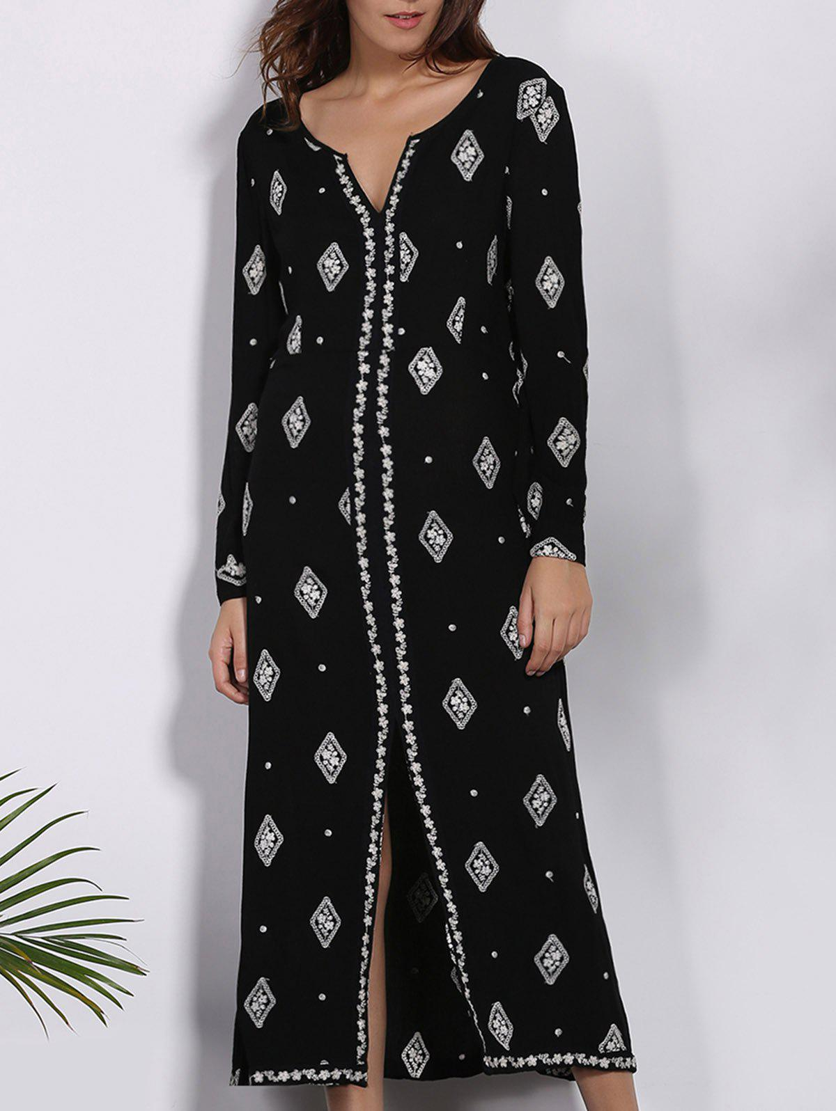 Trendy 3/4 Sleeve V-Neck High Slit Geometric Pattern Women's Dress