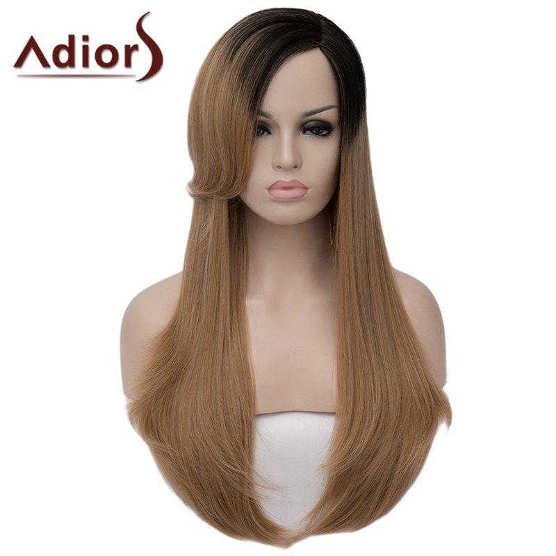 Stylish Black Ombre Light Brown Capless Shaggy Long Synthetic Natural Straight Women's Wig - OMBRE 2