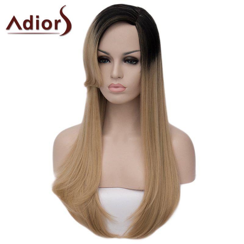 Fluffy Straight Tail Adduction Capless Charming Long Black Blonde Gradient Synthetic Wig For Women