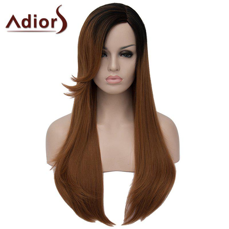 Elegant Long Black Gradient Brown Synthetic Vogue Straight Capless Wig For Women - OMBRE