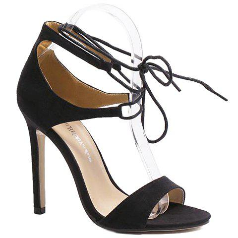Fashionable Stiletto Heel and Lace-Up Design Women's Sandals - BLACK 38