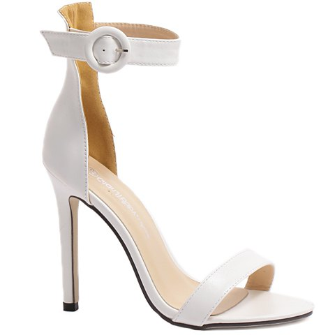 Concise Ankle Strap and Stiletto Heel Design Women's Sandals - 35 WHITE