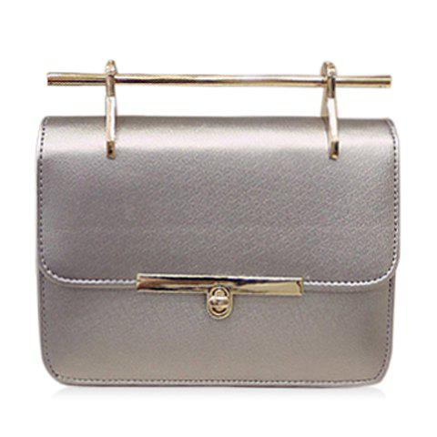 Trendy Solid Color and Hasp Design Women's Crossbody Bag - SILVER