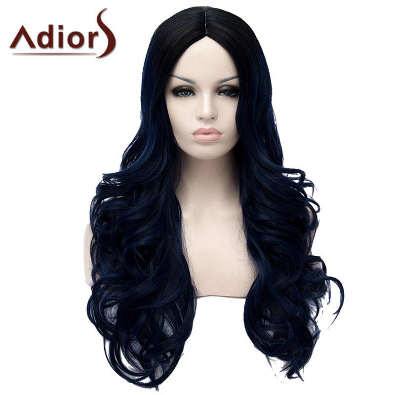 Fluffy Wavy Long Synthetic Fashion Black Ombre Dark Blue Middle Part Adiors Wig For Women - BLUE/BLACK