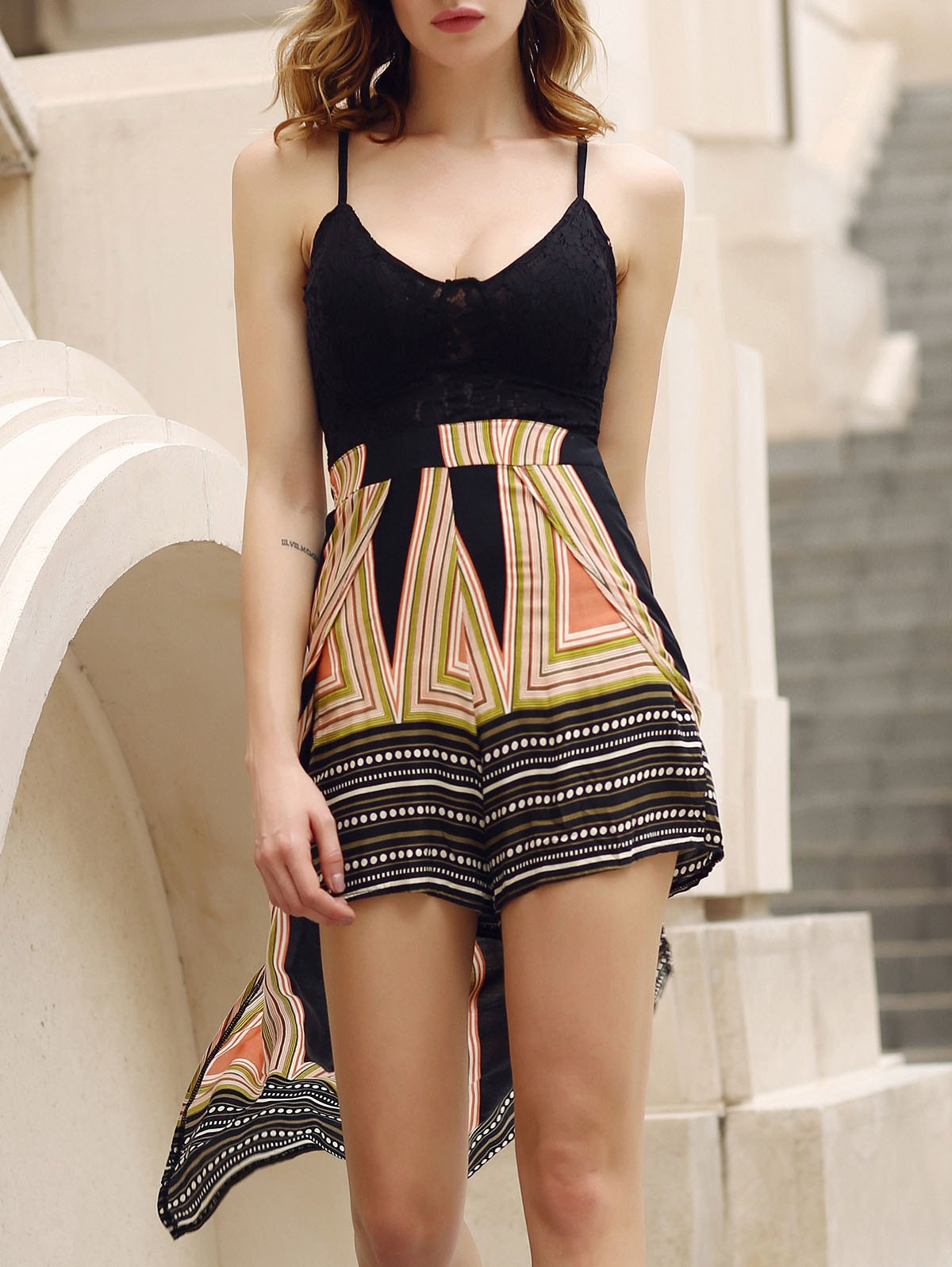 Stylish Plunging Neck Backless Multi Convertible Way Women's Skirted Romper - BLACK S
