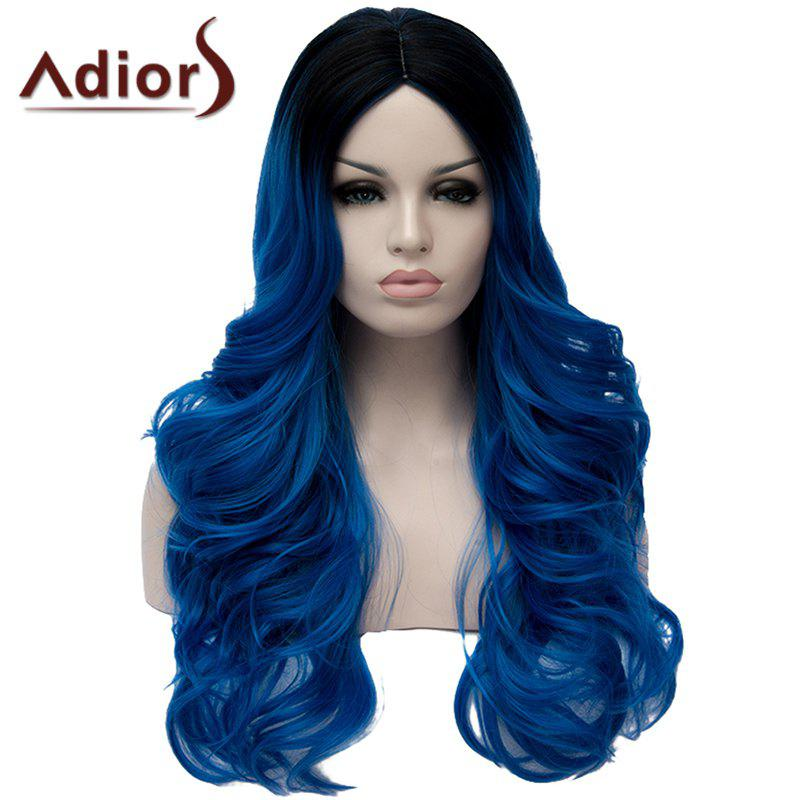 Fluffy Long Wavy Middle Part Synthetic Fashion Black Ombre Blue Capless Wig For Women - BLUE/BLACK