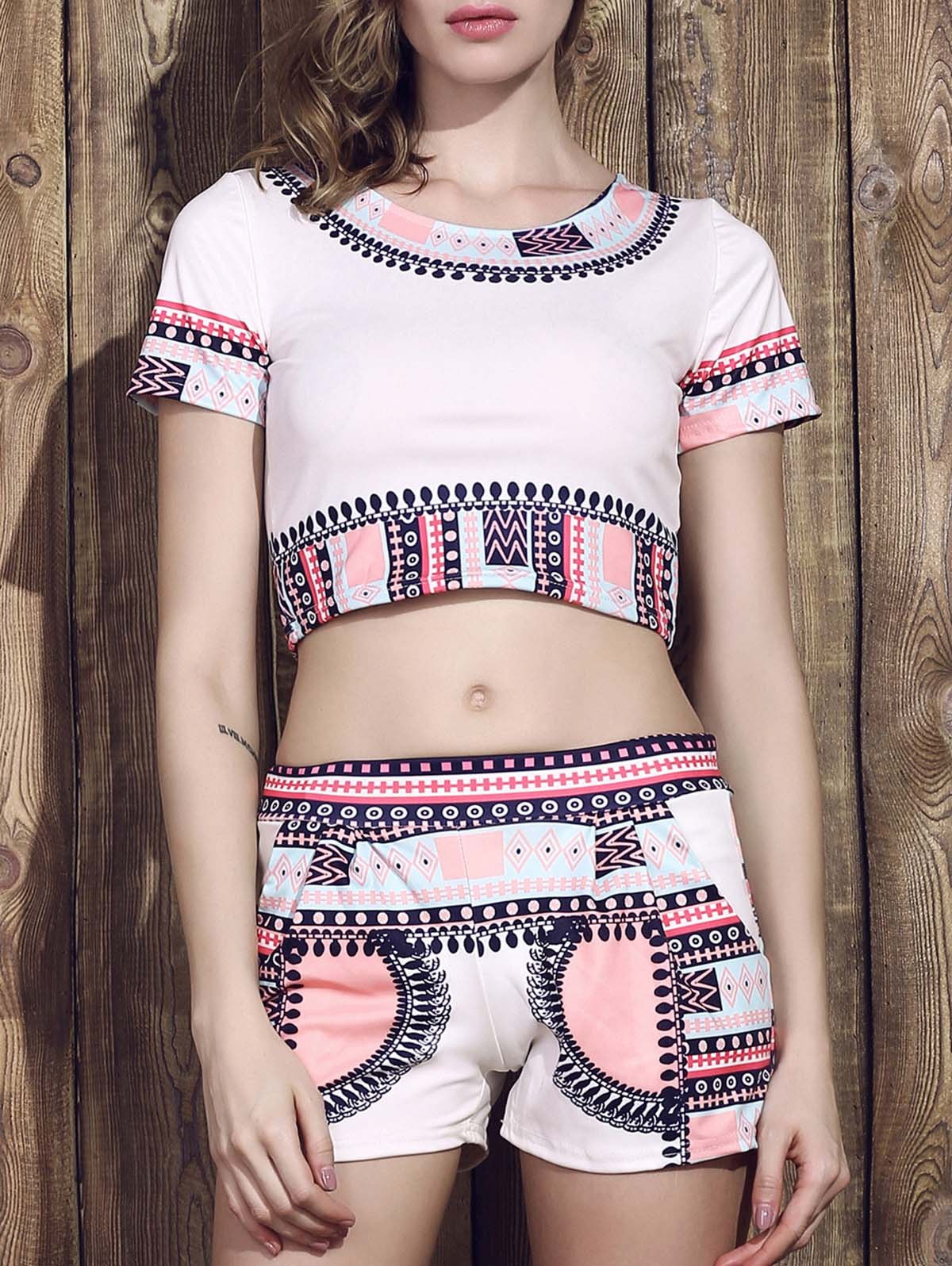 Fashionable Round Coller Short Sleeves Printed Crop Top + Shorts Women's Twinset - WHITE S