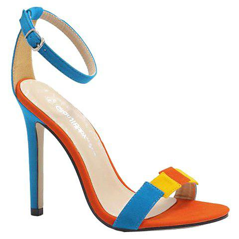 Fashionable Color Block and Flock Design Women's Sandals