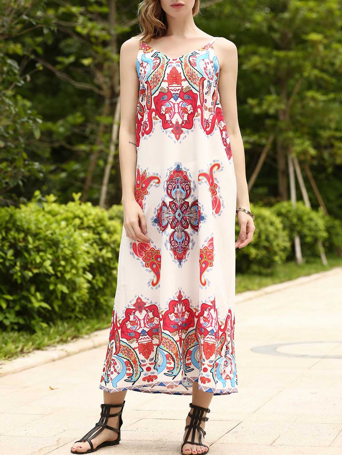 Bohemian Spaghetti Strap Loose-Fitting Printed Women's Dress - COLORMIX S