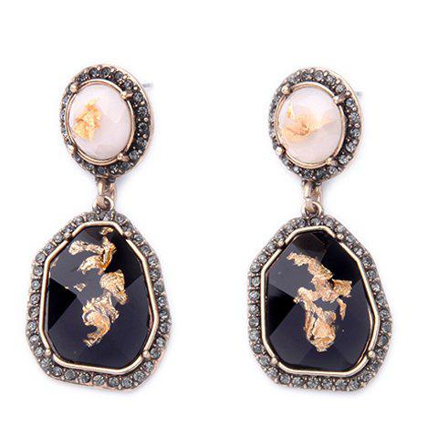 Pair of Vintage Rhinestone Faux Gem Irregular Petal Drop Earrings For Women - BLACK