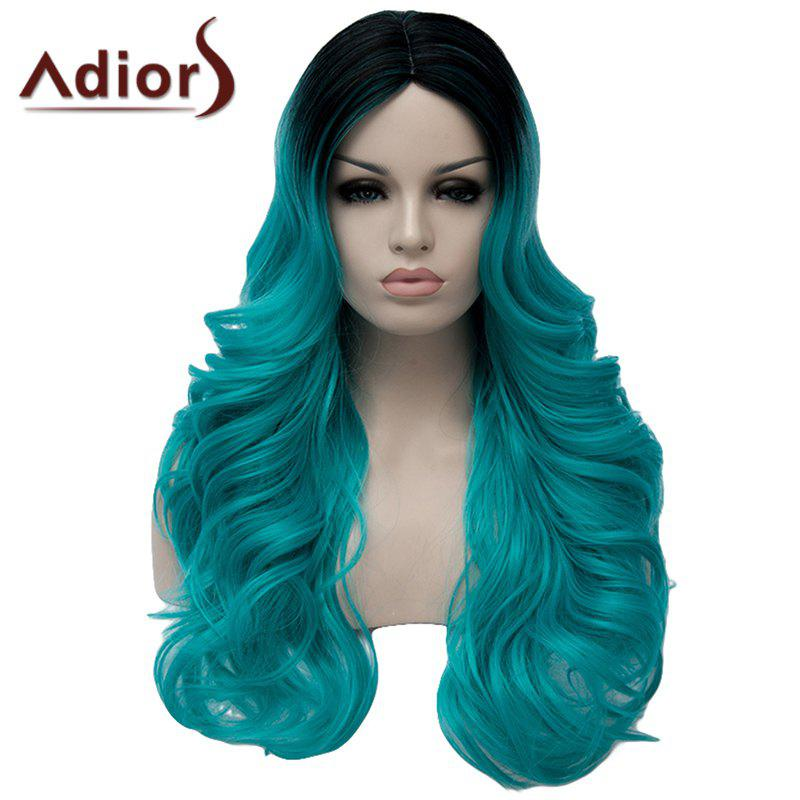 Charming Long Middle Part Capless Fluffy Wavy Black Mixed Green Women's Synthetic Wig