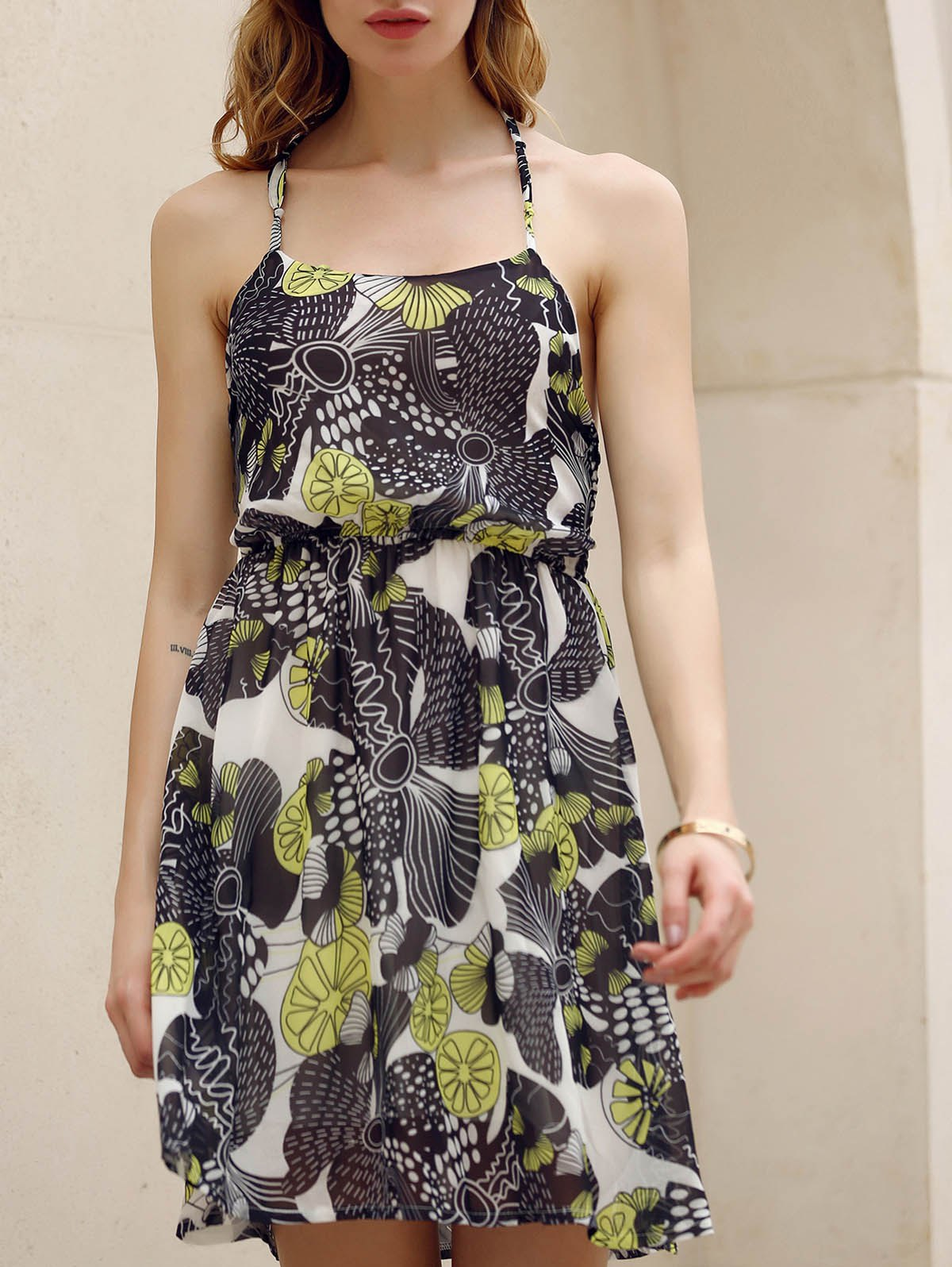 Chic Halter Sleeveless Flounced Printed Women's Chiffon Dress - COLORMIX L