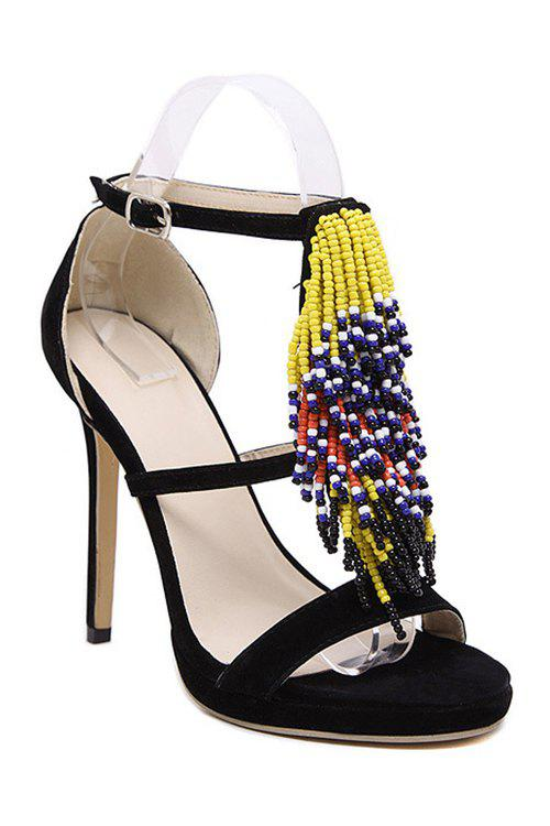 Party Colorful Beading and Stiletto Heel Design Sandals For Women fashionable pu leather and stiletto heel design sandals for women