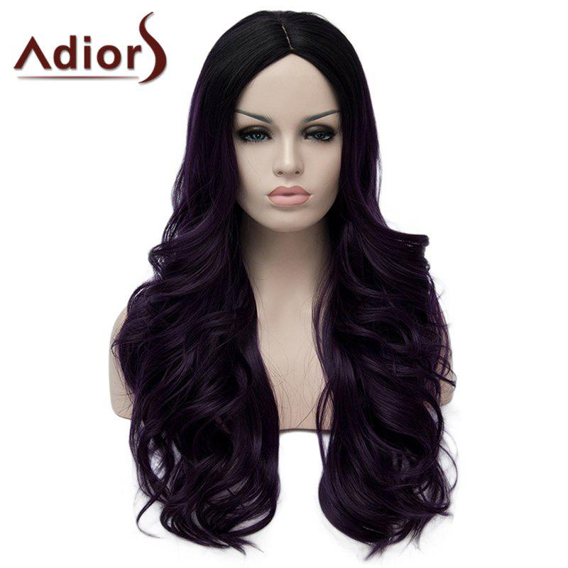 Shaggy Long Wavy Capless Stunning Purple Highlight Synthetic Wig For Women