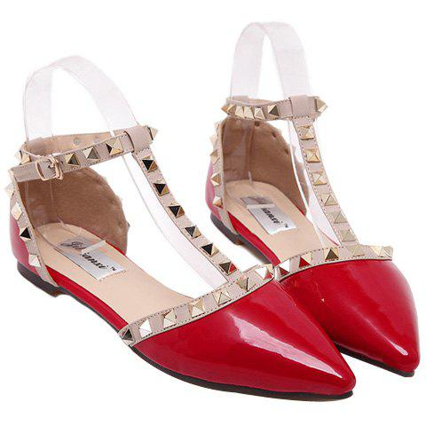 Trendy Patent Leather and T-Strap Design Women's Flat Shoes - RED 35