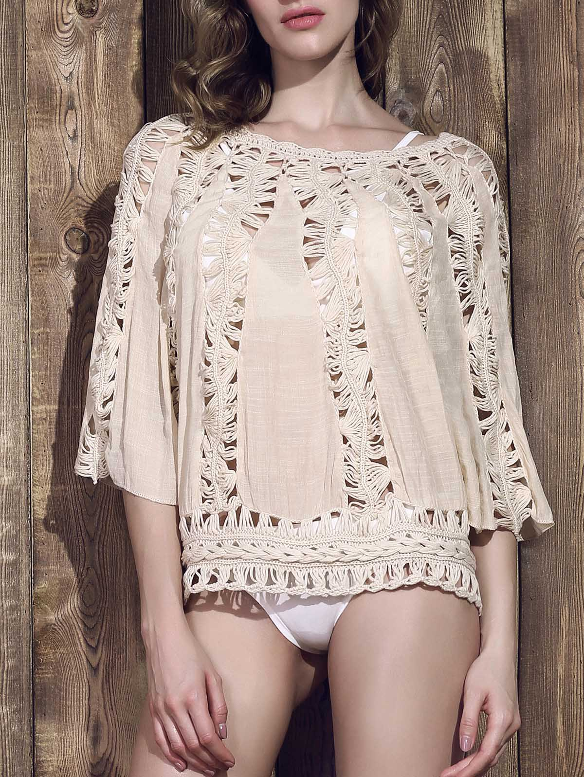 Chic Women's Scoop Neck Hollow Out Knitted 3/4 Sleeve Blouse - APRICOT ONE SIZE(FIT SIZE XS TO M)