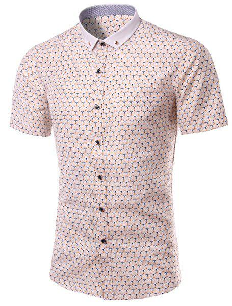 Turn-Down Collar Plus Size Geometric Printed Short Sleeve Men's Shirt - COLORMIX M