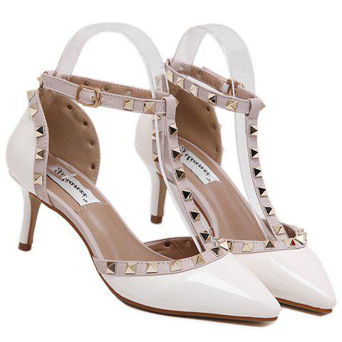 Stylish T-Strap and Pointed Toe Design Women's Pumps - WHITE 37
